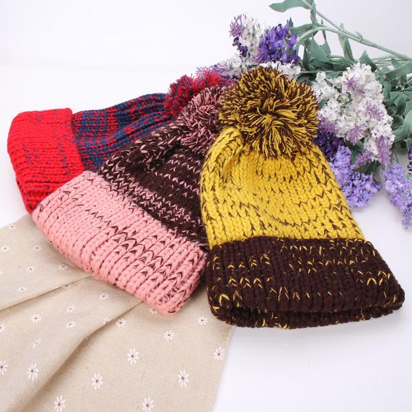 women fashion mix two color knit hat fluff ball wool cap at Banggood adf16772181b