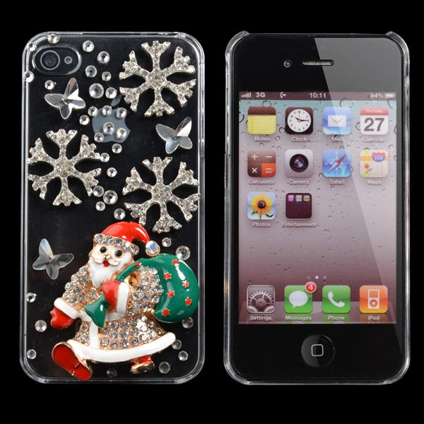 Father Christmas Shape Handmade Bling Case Cover For iPhone 4 4S