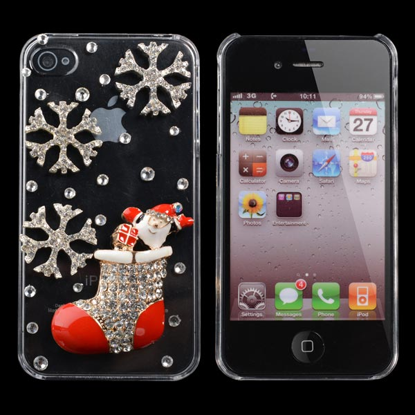 Christmas Handmade Bling Christmas Socks Shape Case For iPhone 4 4S