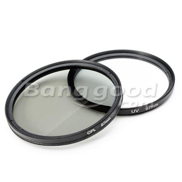 2Pcs 67MM UV Lens Filter And Polarizing CPL Filter Kit For Nikon Canon