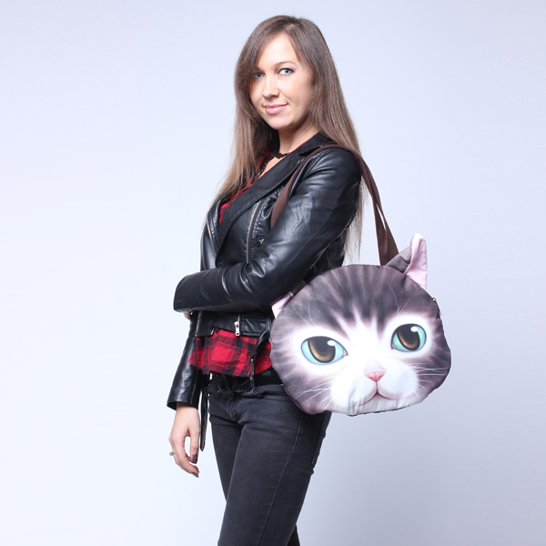 Women Cute Cat Face Handbag Shopping Bags Cat Pattern Shoulder Bag