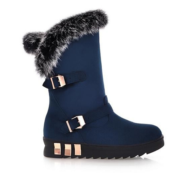 Women Sweet Artificial Rabbit Hair Buckle Flat Mid Calf Snow Boots