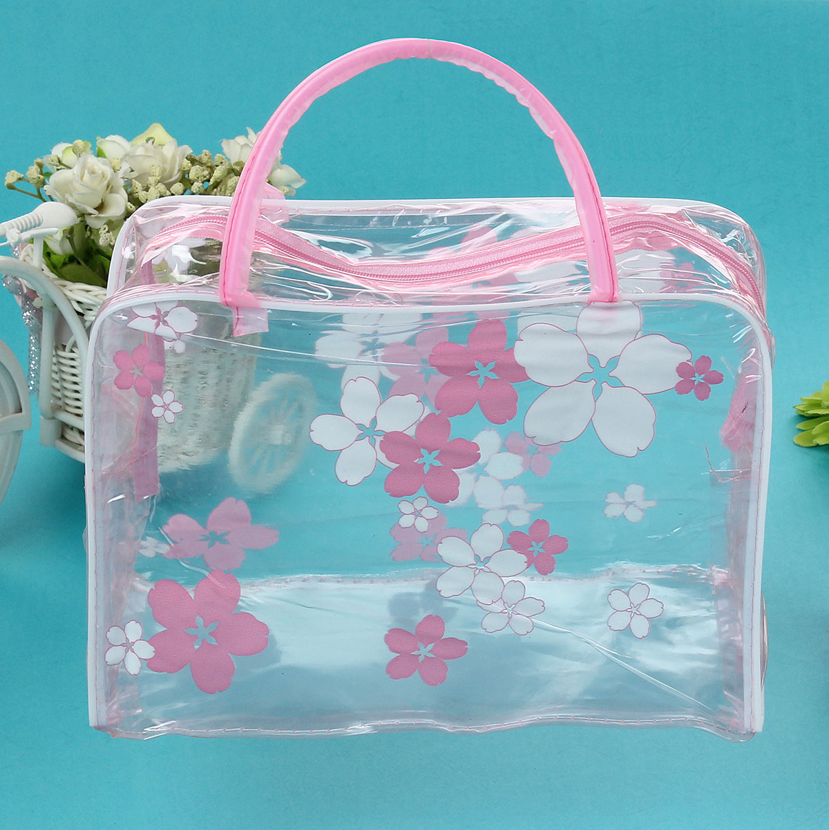 Floral Waterproof Transparent Cosmetic Makeup Wash Bag Toiletry Pouch
