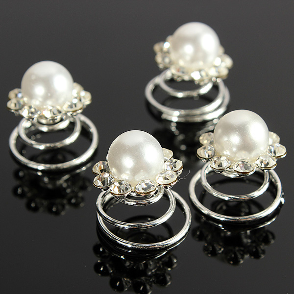 Crystal Pearl Diamond Bride Spiral Twist Hairpins