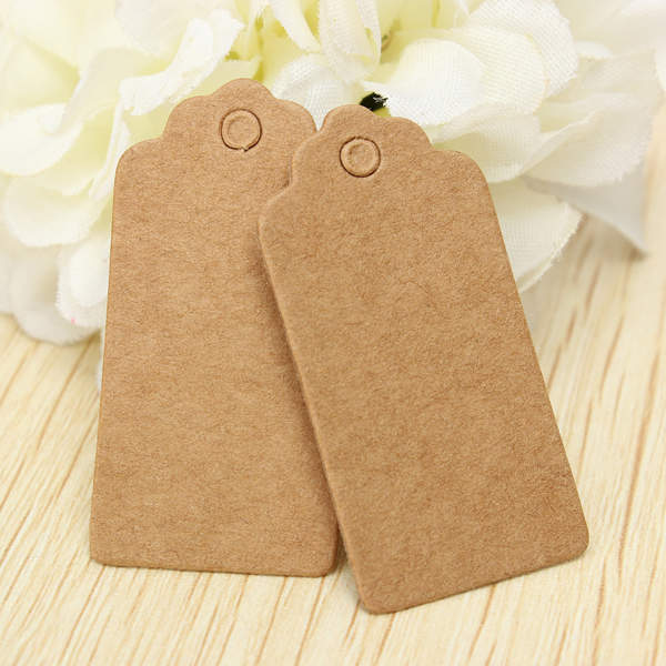 100pcs 4*2CM Kraft Paper Gift Tags with 8m Twine