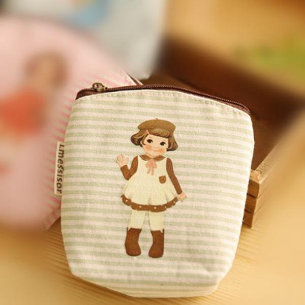 Cute Girl Doll Canvas Coin Purse Pouch Clutch Bag