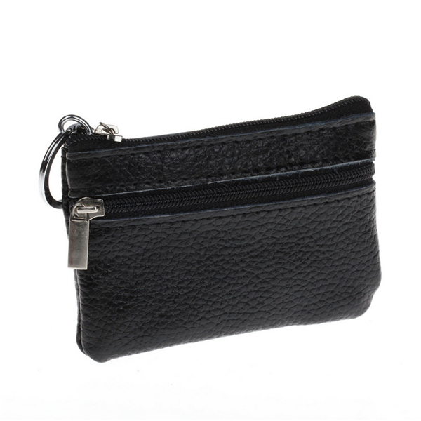 Men Women Durable Leather Zipper Coin Purse Mini Wallet Key Pouch