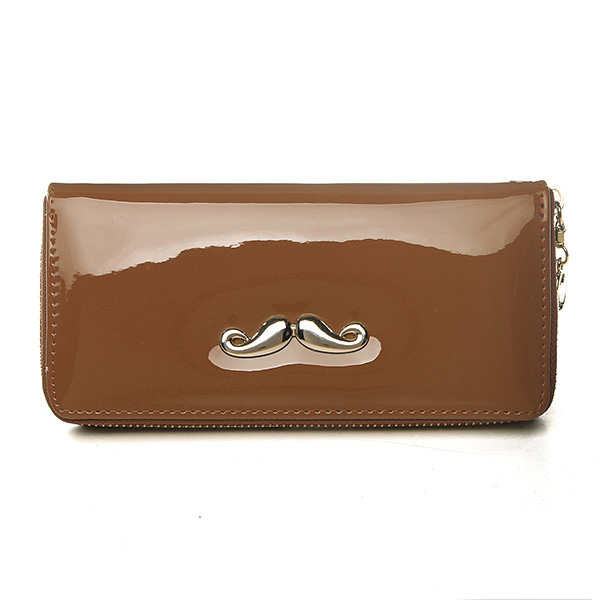 Women Moustache Leather Long Wallet Zipper Clutch Purse