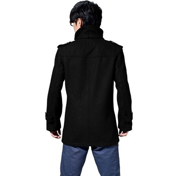 Winter Mens Long Coat Fashion Casual Woolen Slim Windbreaker