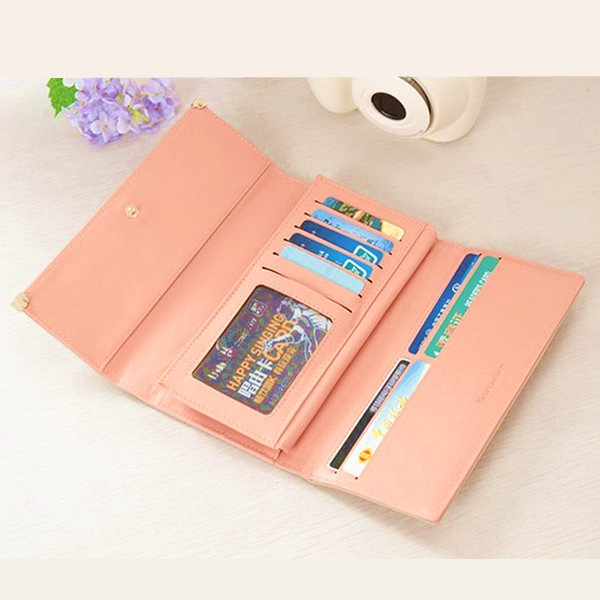 Women Clutch Matte Leather Wallet Lady Card Holder Purse Handbag