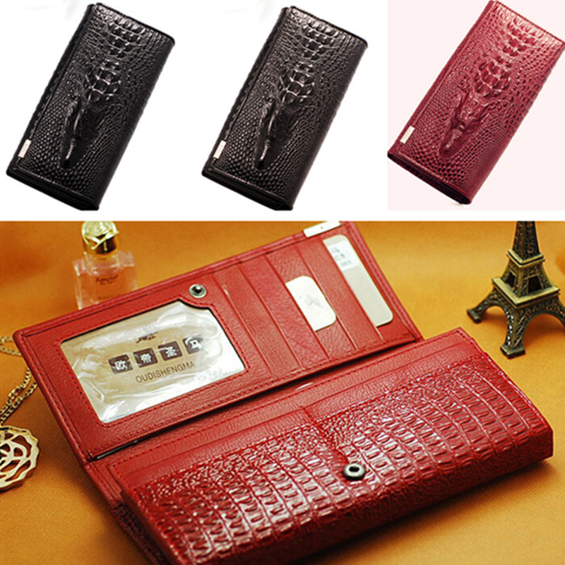 Women's PU Leather Crocodile Envelope Long Clutch Purse Handbag Wallet