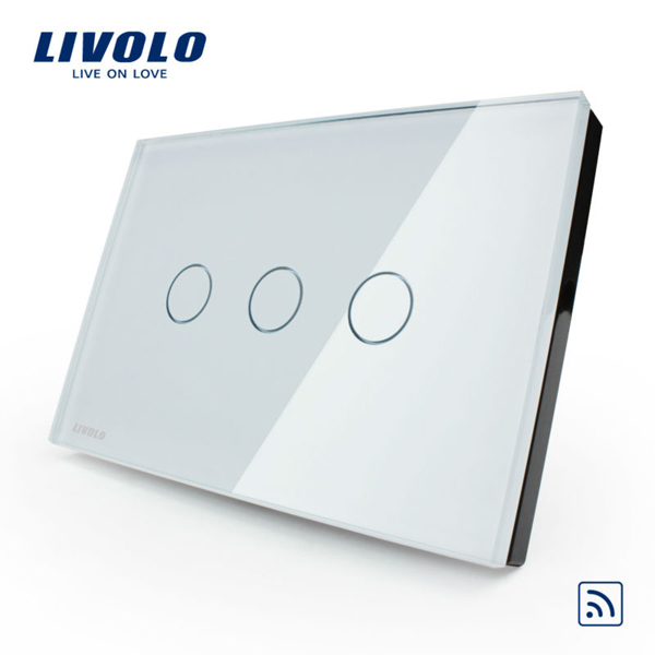 Livolo White Crystal Glass Touch&Remote Switch VL-C303R-81 AC110-250V