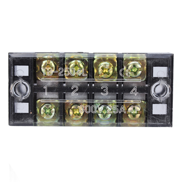 Dual 4 Position 25A 600V Screw Terminal Strip Covered Barrier Block