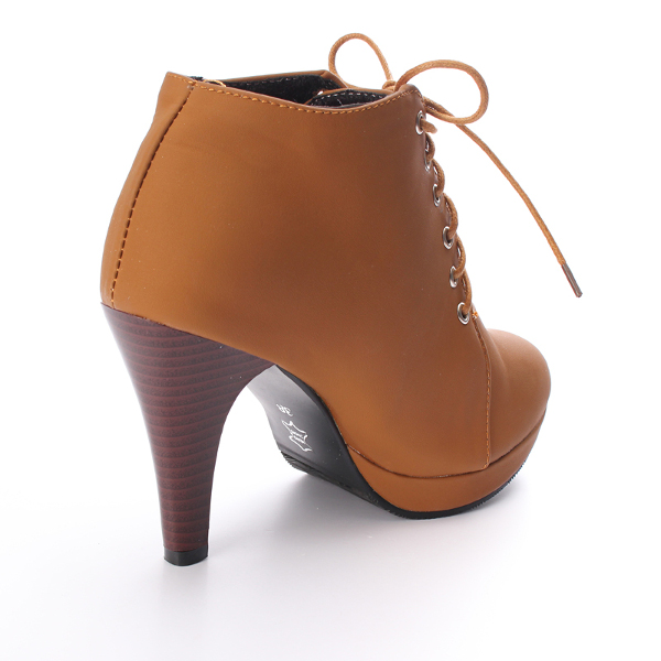 Lace Up Round Toe High Heel Ankle Boots Women Stiletto Shoes