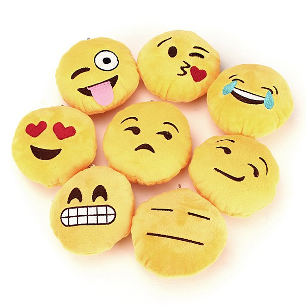 Cute Yellow Emoji Emoticon Cushion Stuffed Plush Toy Key Chain Pendant
