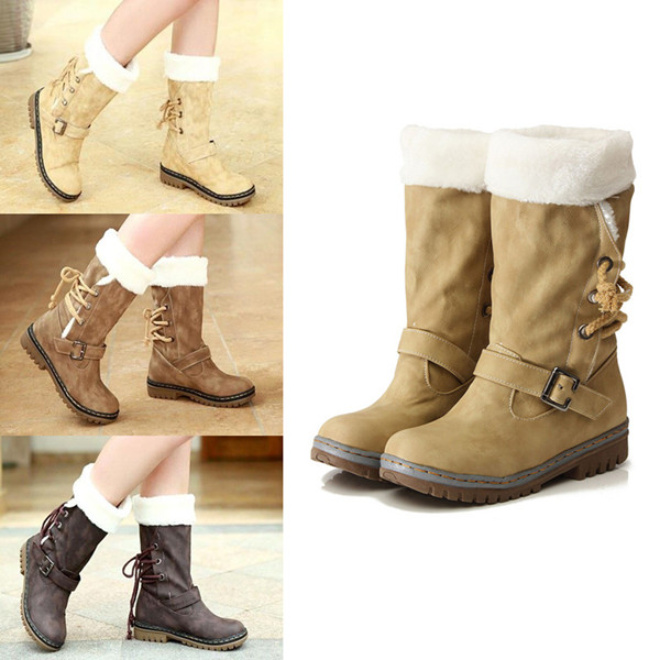 Women Low Heel Flat Fur Snow Mid Calf Boots Lace Up