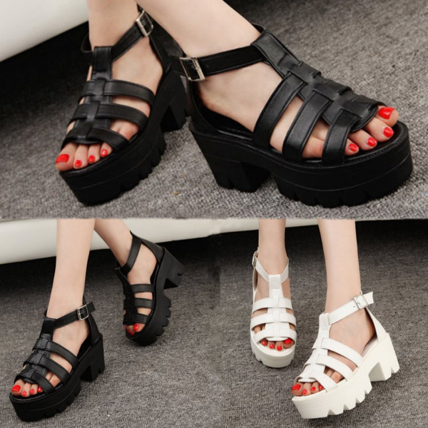 Lady Strappy Platform Block Heel Chunky Buckle Ankle High Sandals