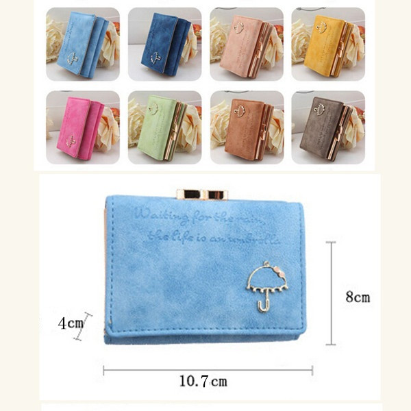 Women PU Leather Wallet Button Clutch Purse Lady Short Handbag Bag