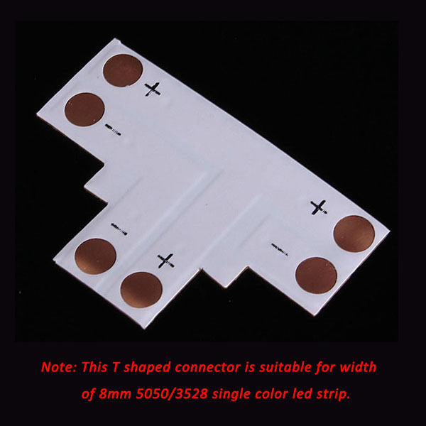 2pin LED Connector T Shape Corner For 8mm 5050/3528 LED Strip Light