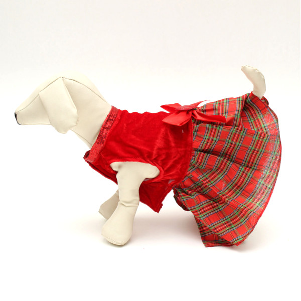 Pet Dog Cat Bowknot Heart Red Plaid Party Clothes Dress Skirt