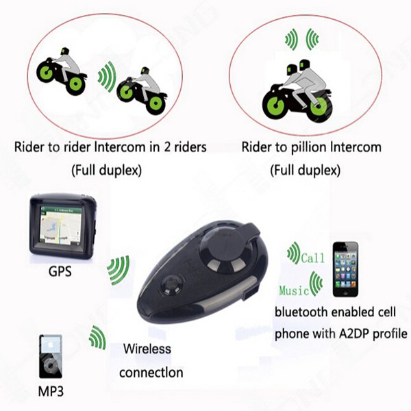 KIE 500M Motorcycle BT Helmet Stereo Intercom Headset with bluetooth FM Function