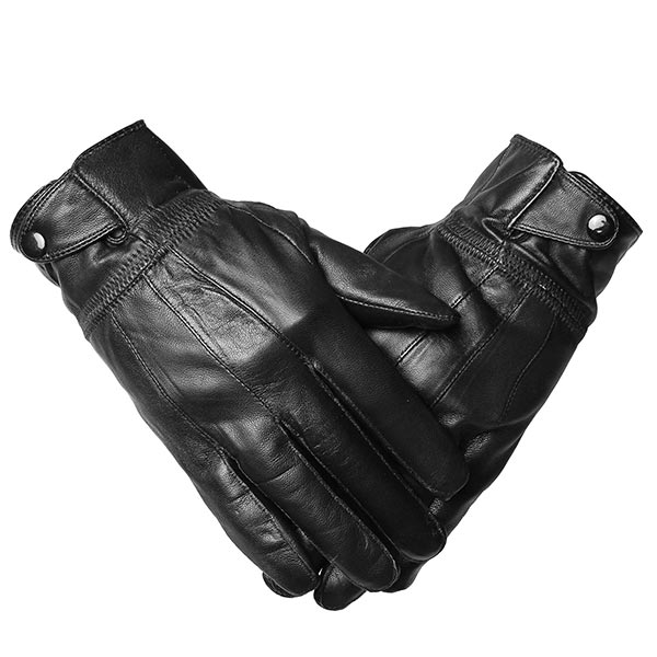 Men Sheepskin Leather Driving Gloves Buckles Cycling Windproof Velvet Linen Mittens
