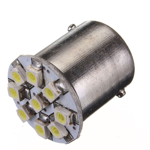 1156 3528 LED 9 SMD Car Tail Turn Steel Ring Reverse Signal Light Bulb