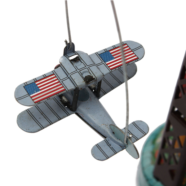 Classic Wind Up Rotating Airplane Carousel Clockwork Tin Toy