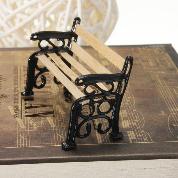 1:12 Wooden Bench Black Metal Dollhouse Miniature Garden Furniture Accessories