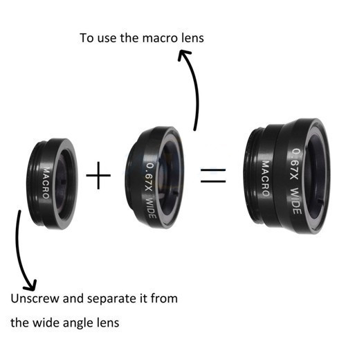 Universal Wide Angle Macro Fisheye Lens Clip 3 in 1 Camera Lens For Mobile Phone