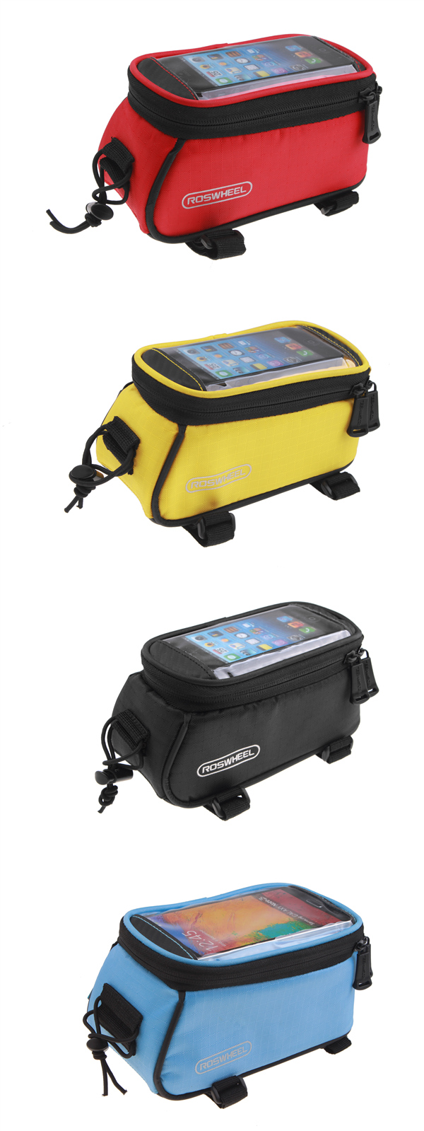 ROSWHEEL Bicycle Mobile Phone Touch Screen Bag Frame Tube Bag