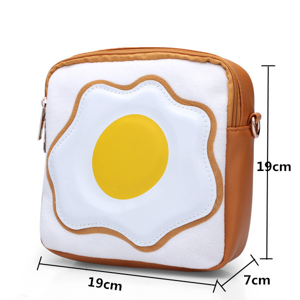 Girls Women PU Leather Lovely Cartoon Toast Poached Egg Crossbody bags