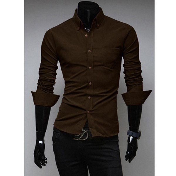 Mens Corduroy Shirt Casual Business Solid 10 Colors Slim Shirt