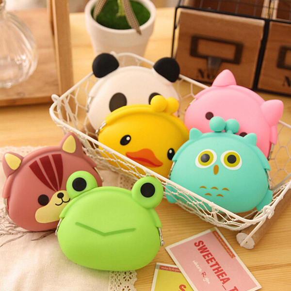 Women Silicone Jelly Coin Purse Cartoon Lovely Animal Bag