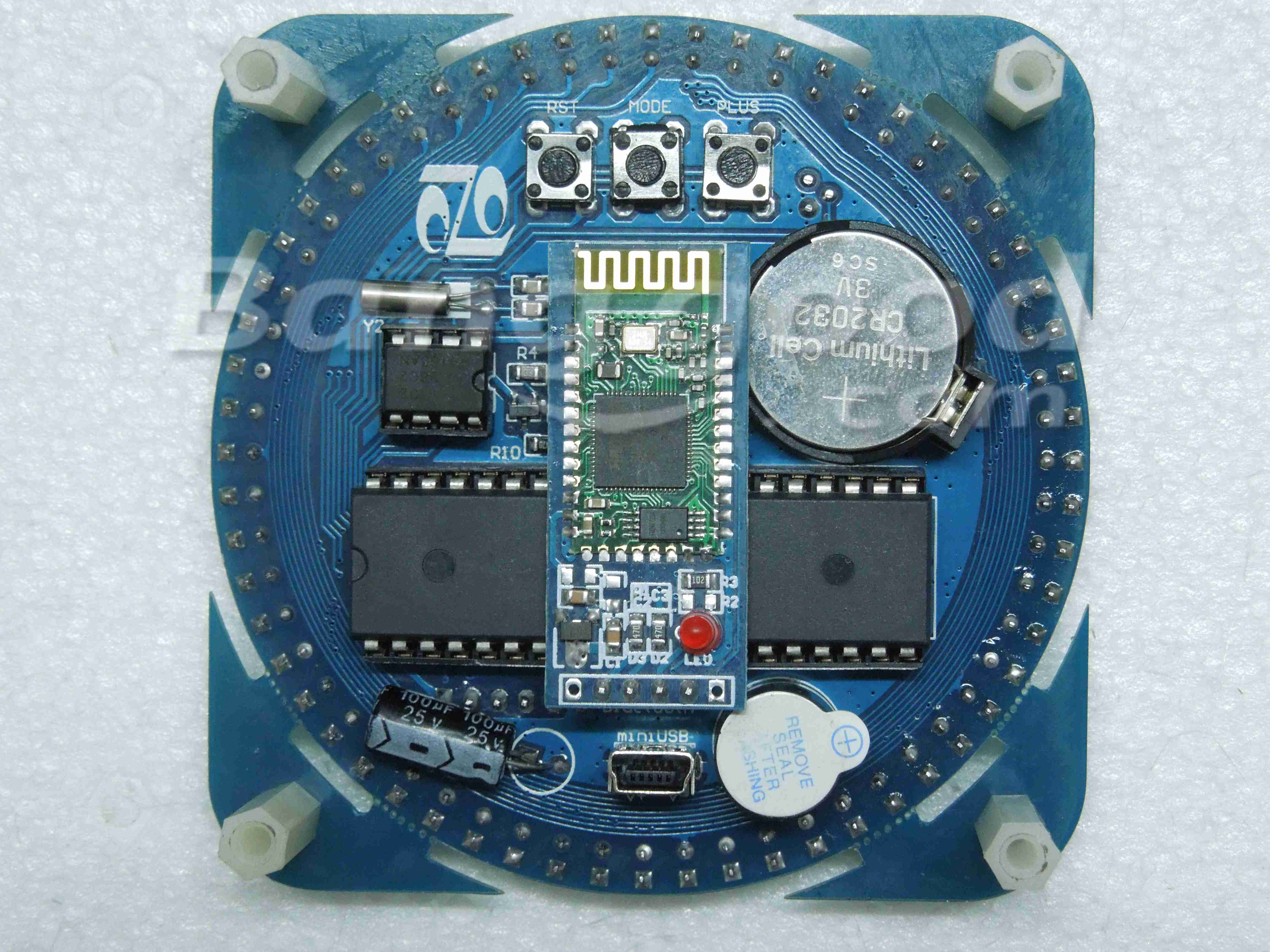 DIY AT89S52 Rotation LED Electronic Clock Kit 51 SCM Learning Board