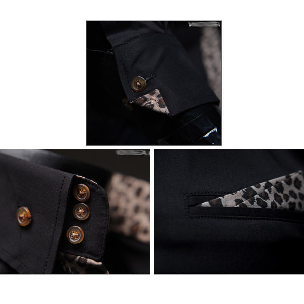 Mens Casual Fashion Leopard Grain Shirts Slim Long Sleeve Shirts