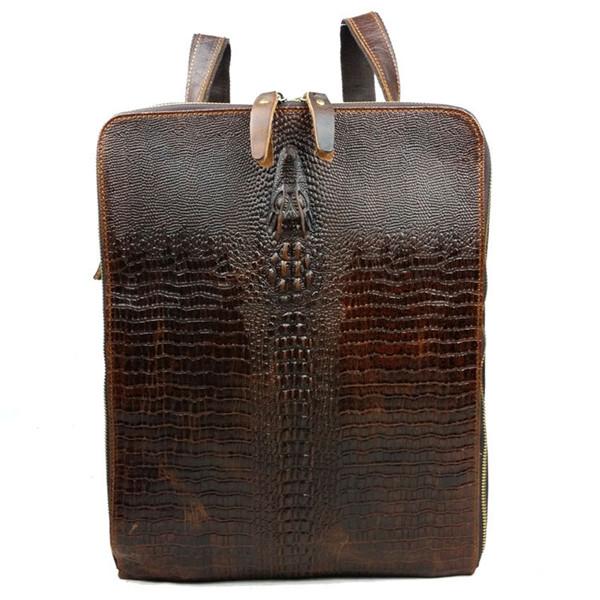 Genuine Leather Men Multifunctional Crocodile Pattern Travel Backpack