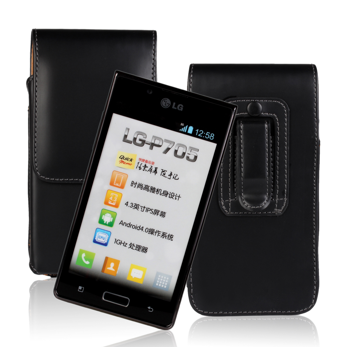 Waist Hanged PU PC Black Flip Leather Case For LG L7