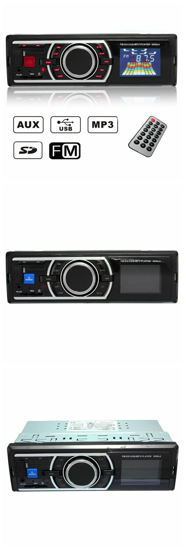 Car Auto 12V LCD Stereo Radio FM SD USB MP3 Player AUX Non CD Reader