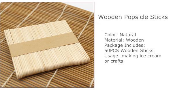 50PCS Wooden Popsicle Ice Cream Sticks Kids Arts Lolly Cake Craft Sticks DIY Handcrafts Materials