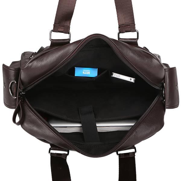 Mens Vintage Faux Leather Messenger Bag Weekend Shoulder Bag