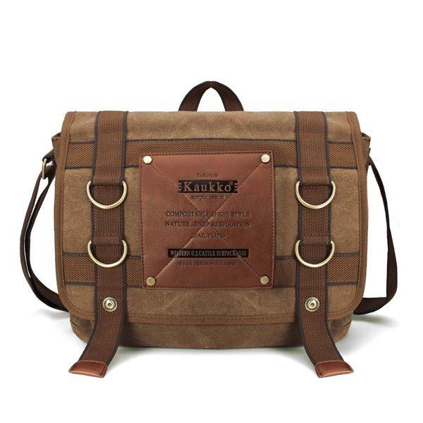 KAUKKO Mens Retro Canvas Travel Shoulder Bag School Messenger Bags