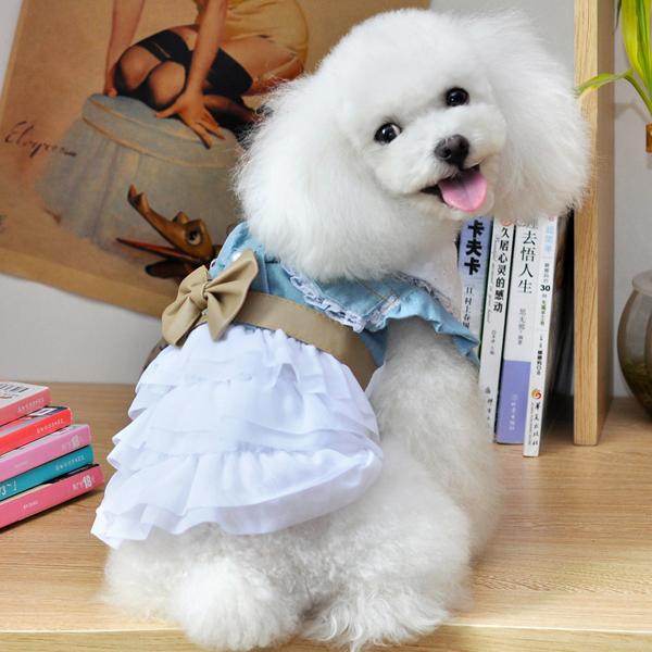 Cotton Denim Jean Pet Dog Dress Clothes