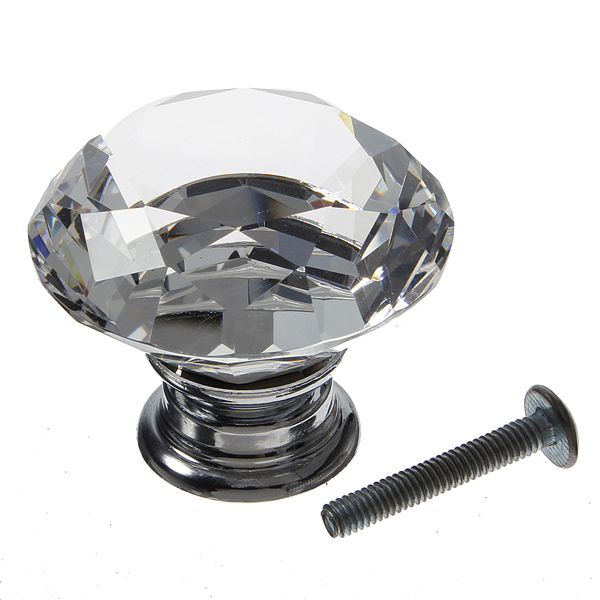 40mm Diamond Crystal Door Knob Drawer Cabinet Handle Knob Screw