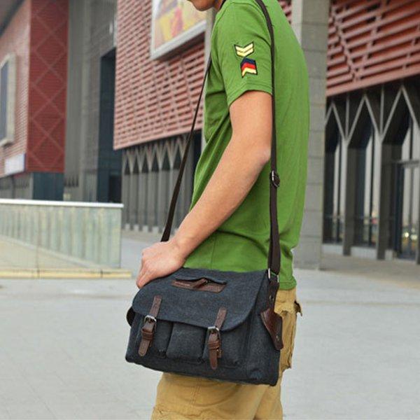 Mens Casual Canvas Messenger Bag Travel Shoulder