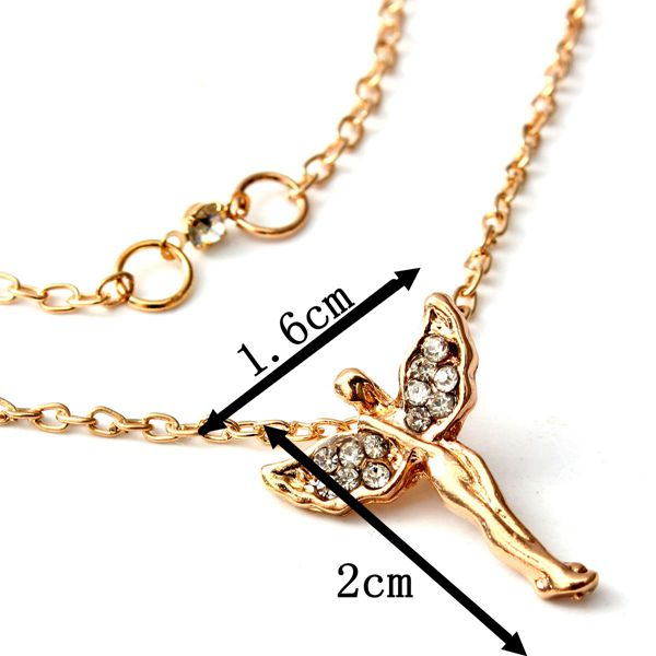 Rhinestone Angel Wings Double Chain Pendant Necklace For Women