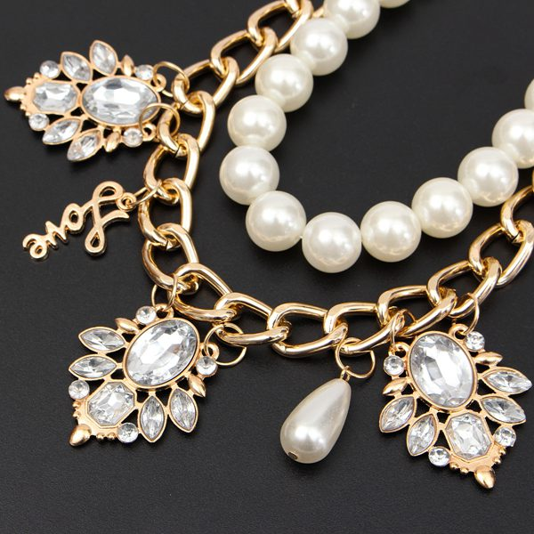 Vintage Pearl Crystal Chunky Choker Letter Pendant Statement Necklace