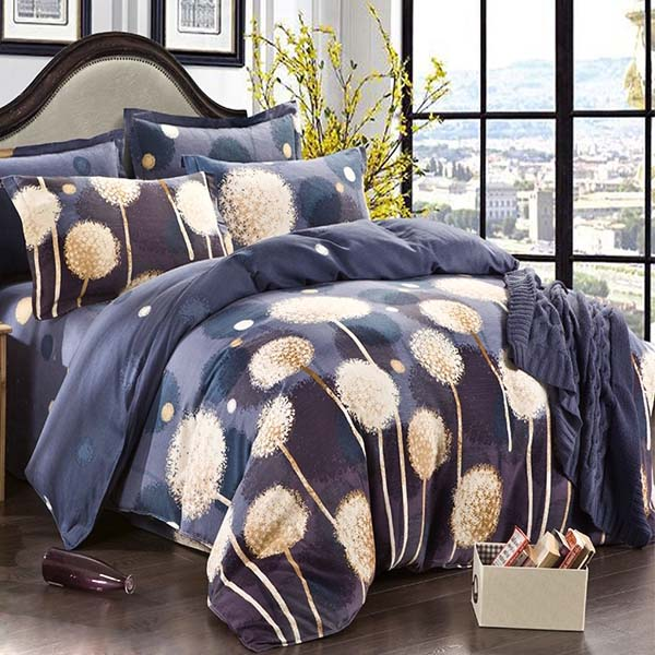 4pcs Pure Cotton Sanding Dandelion Printed Thicken Bedding Sets Duvet Cover