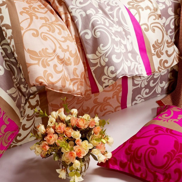 4pcs Polyester Fiber Sunny Mood Reactive Print Bedding Sets With Duvet Cover