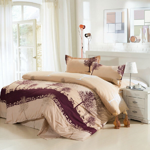 4pcs Polyester Fiber Tree Reactive Dyeing Bedding Sets With Duvet Cover